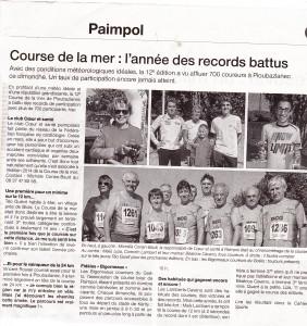 Article Ouest France du 4 Août 2014 Course de la mer _0001