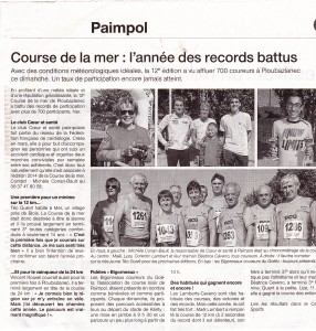 Ouest France Course de la mer et le 5 km Coeur et santé